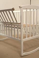 Кровать «AMELI» с откидной боковиной, дугами и колесами (600 * 1200) (Белый), фото 2