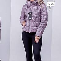 Женская куртка демисезонная короткая нежно-розового цвета