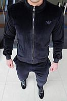 Мужской велюровый спортивный костюм Armani H0263 черный