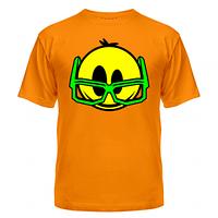 Крутая яркая летняя футболка с рисунком Смайлик в очках