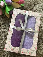 Набор махровых полотенец для рук и лица в коробке