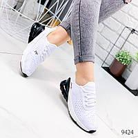 Женские легкие дышащие текстильные кроссовки  белые с черной пяткой, фото 1