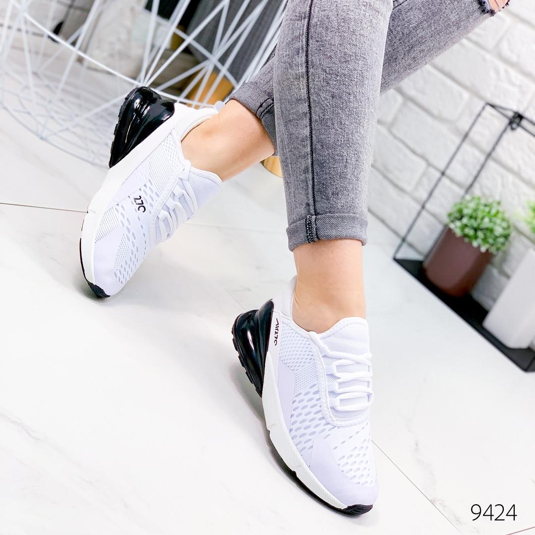 Женские легкие дышащие текстильные кроссовки  белые с черной пяткой