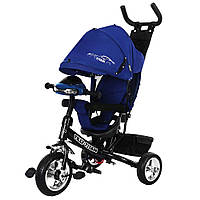 Велосипед коляска трехколесный с родительской ручкой и игровой панелью TILLY TITAN Тилли Титан T348 Синий
