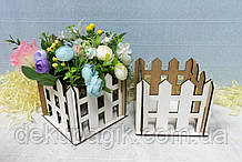 Декоративний парканчик 12х12см, білий мдф