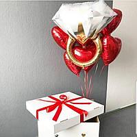 Фольгированный шар гелиевый обручальное кольцо   94 см