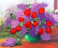 Набор для вышивки лентами Сирень и тюльпаны НЛ-3025