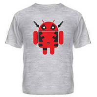Молодёжная футболка летняя с принтом Дэдпул андроид