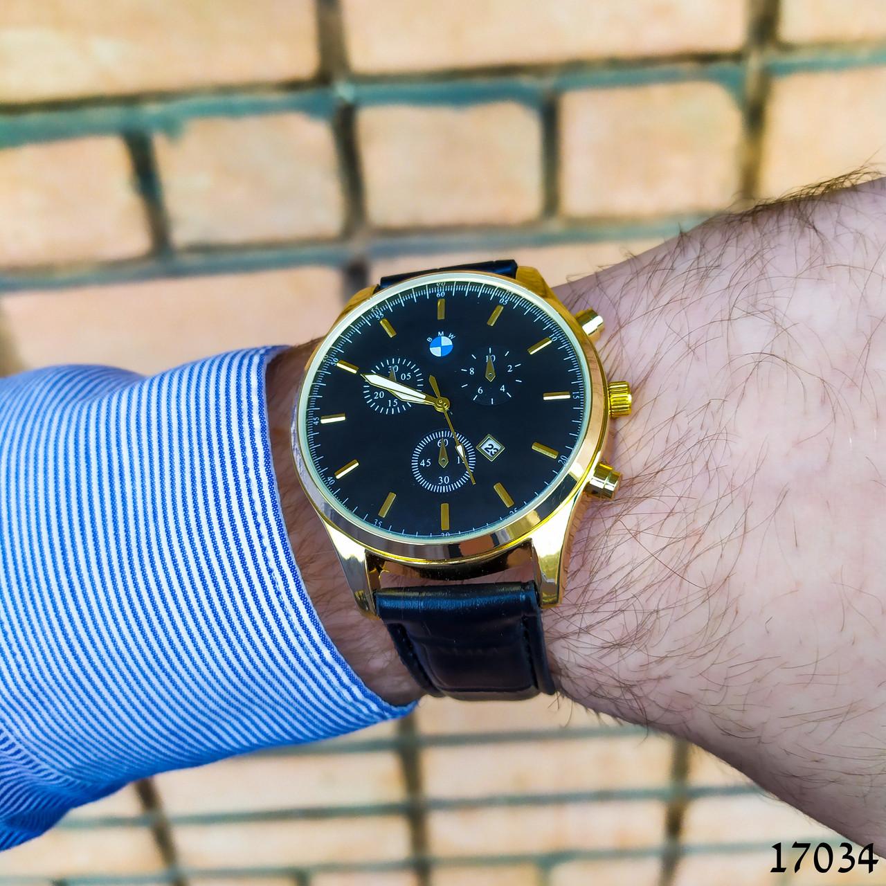 Часы мужские в стиле BMW. Мужские наручные часы золотого цвета. Часы с черным циферблатом Годинник чоловічий