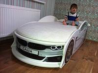 """Детская кровать машина с матрасом """"BMW"""" белая"""