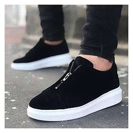 Мужские кроссовки с замком черные