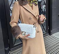 Пальто женское с эко-мехом