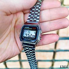 Часы мужские в стиле Casio. Мужские наручные часы цвета серебро. Часы с черным циферблатом Годинник чоловічий, фото 3