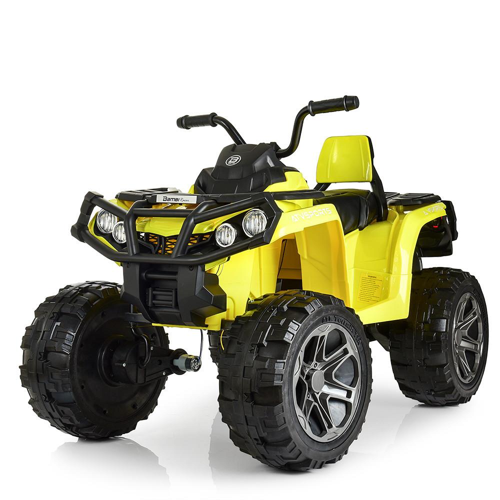 Детский квадроцикл M 3999 EBLR-6, 4 мотора, Пульт 2,4G, EVA, кожаное сиденье, детский электромобиль, желтый