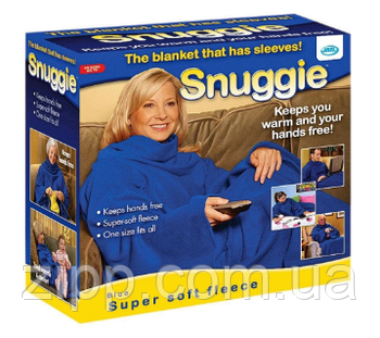 Плед Snuggie з рукавами флісовий синій