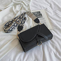Стильная женская сумка клатч Sable на  широком ремешке через плечо черная