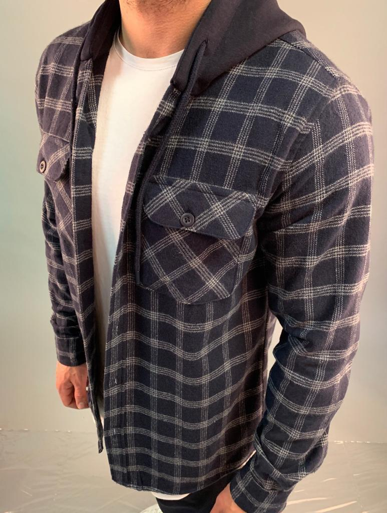 😜Рубашка - мужская теплая байковая рубашка-кофта с капюшоном