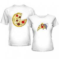 Парные футболки хлопковые для двоих, принт Пицца