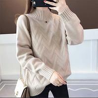 Теплый ажурный вязанный женский свитер
