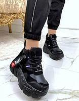 Кроссовки женские на платформе JINTU SPORTS, черные, кожа, замша, код FL-26160