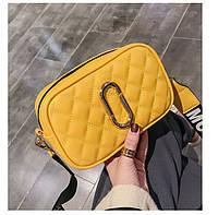 Сумка женская стеганая Marc Jacobs Желтый широкий ремень