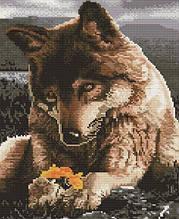Алмазная вышивка 30x40 см. Волк с цветком Rainbow Art
