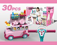 Машинка-толокар для девочек 3-в-1 W018, 3 функции, в коробке 30 предметов,автобус и  игровая кухня.