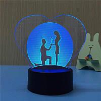 3D Светильник романтика. 1 светильник - 16 цветов света. Подарок любимой девушке