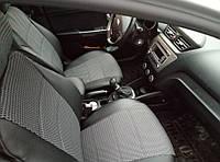 Чехлы на сиденья ВАЗ Лада 2107 (VAZ Lada 2107) (универсальные, кожзам+автоткань, с отдельным подголовником)
