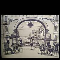Эко сумка  хозяйственная с замочком сирень город кафе (спанбонд), фото 1