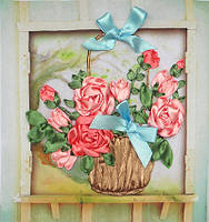 Набор для вышивки лентами Розы в корзине НЛ-4002