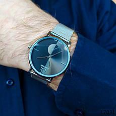 Часы мужские. Мужские наручные часы серебристые. Часы с черным циферблатом. Годинник чоловічий, фото 3