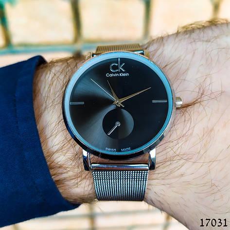 Часы мужские. Мужские наручные часы серебристые. Часы с черным циферблатом. Годинник чоловічий, фото 2