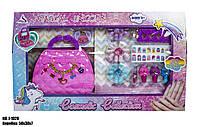 Набор детской косметики в сумочке J-1020 в коробке с аксессуарами, в розовом цвете.