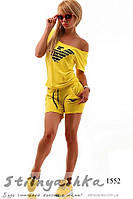 Женский желтый костюм шортами Армани, фото 1