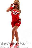 Женский красный костюм шортами Армани, фото 1