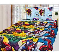 Детская полуторная постель Супер Герои. Комплект детского белья. Ткань Бязь Коттон