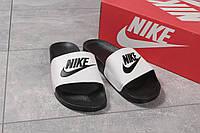 Мужские шлепанцы в стиле Nike, полимер, пена, белые с черным 41 (26,5 см)