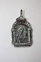 """Серебряная ладанка """"Дева Мария"""" с белыми фианитами"""
