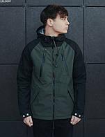 Мужская летняя куртка с капюшоном Staff soft shell haki & black ros