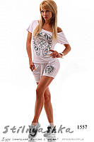 Женский костюм шортами Хром молоко, фото 1