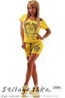 Женский желтый костюм шортами Хром , фото 1
