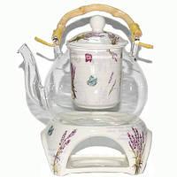 """Чайник стеклянный с фарфоровым ситом и керамической подставкой """"Прованс"""" 800 мл."""