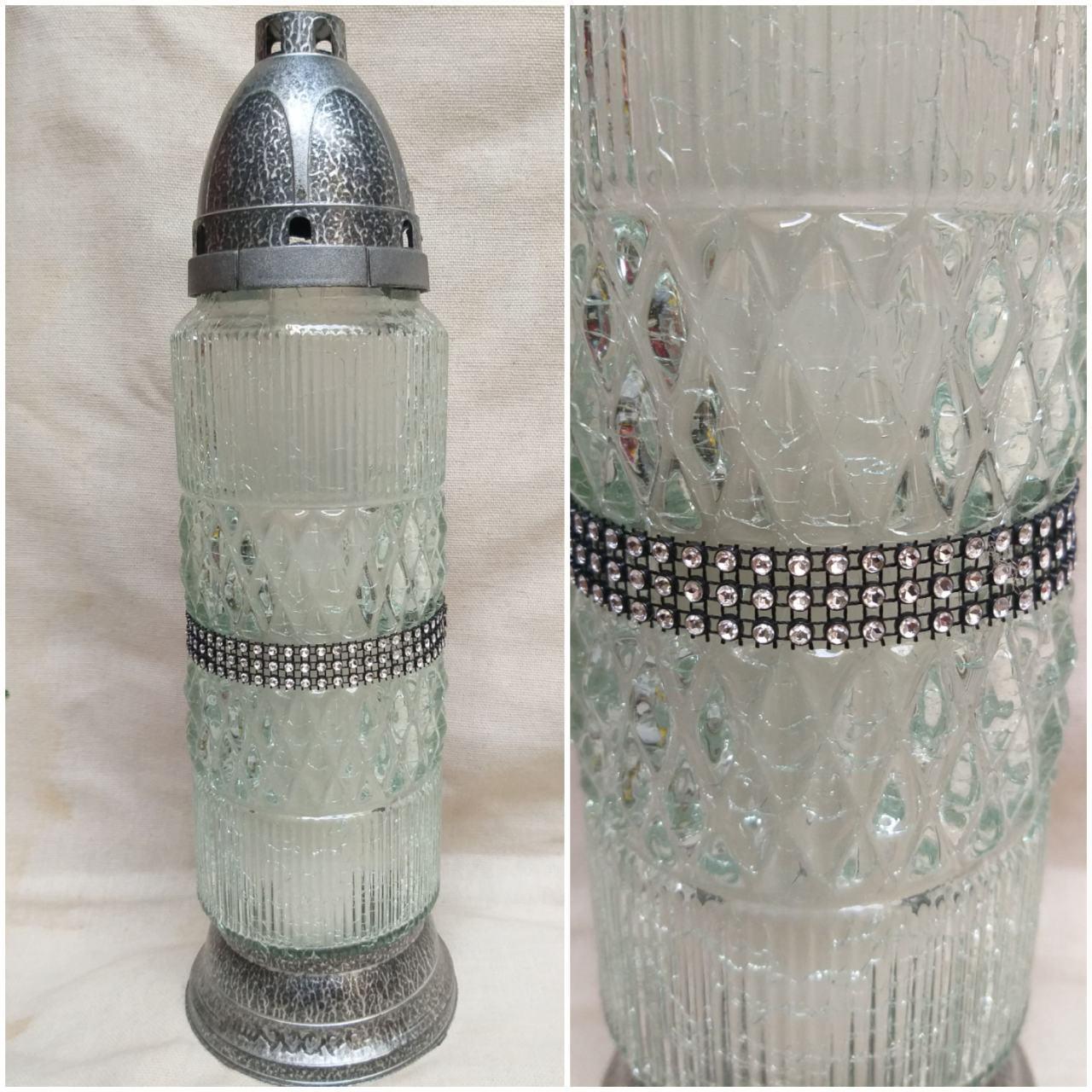Стильна лампадка, скло та пластик, свічка-вкладка, Польша, вис. 36 см., 280/245 (цена за 1 шт. + 35 гр)