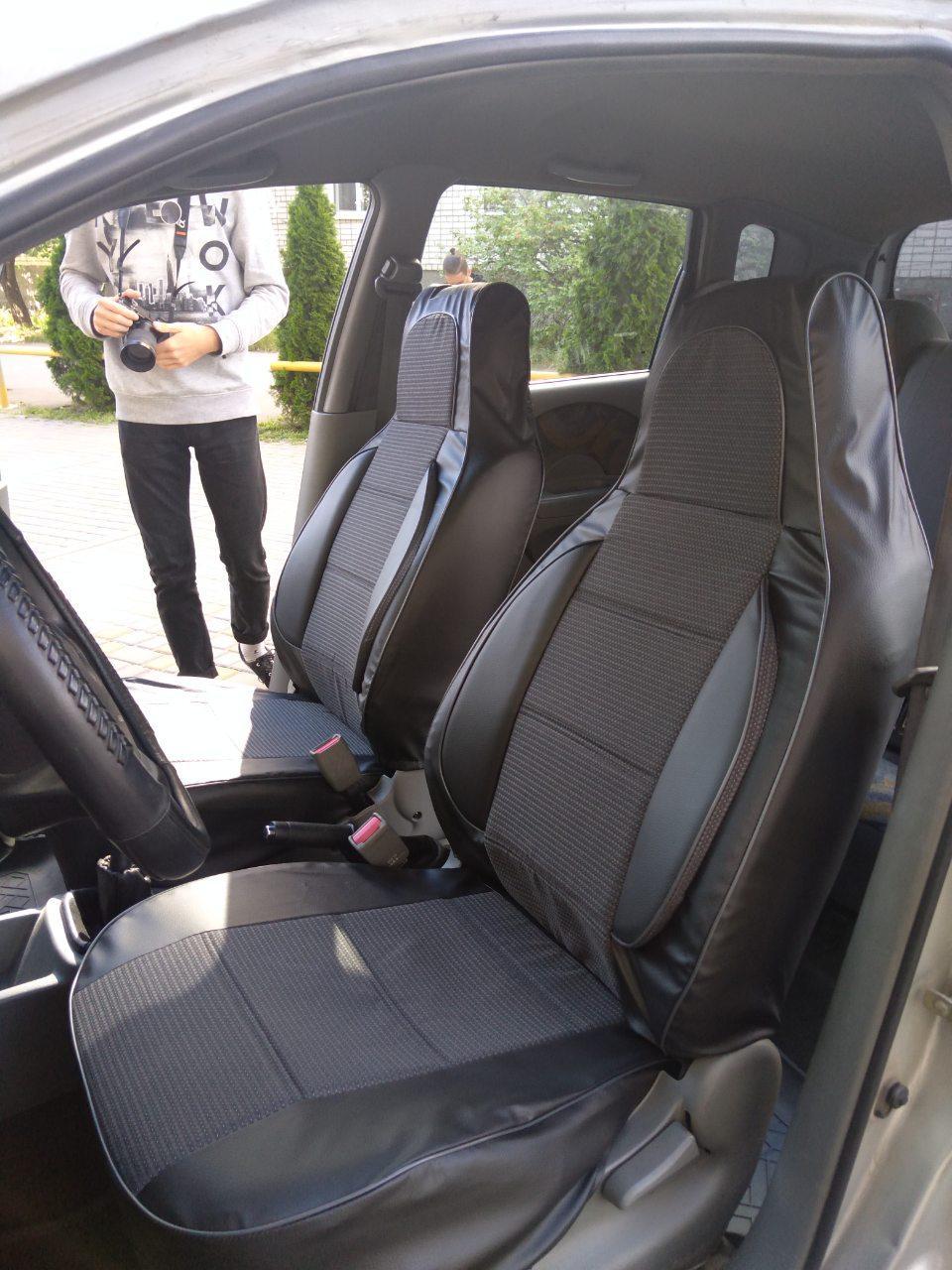 Чехлы на сиденья Мерседес Вито (Mercedes Vito) 1+2  (универсальные, кожзам+автоткань, пилот)