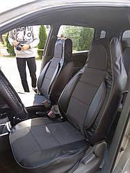 Чехлы на сиденья Ниссан Альмера (Nissan Almera) (универсальные, кожзам+автоткань, пилот)