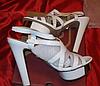 Белые нарядные босоножки шикарные 39 р стелька 25-26 см свадебная коллекция, фото 6