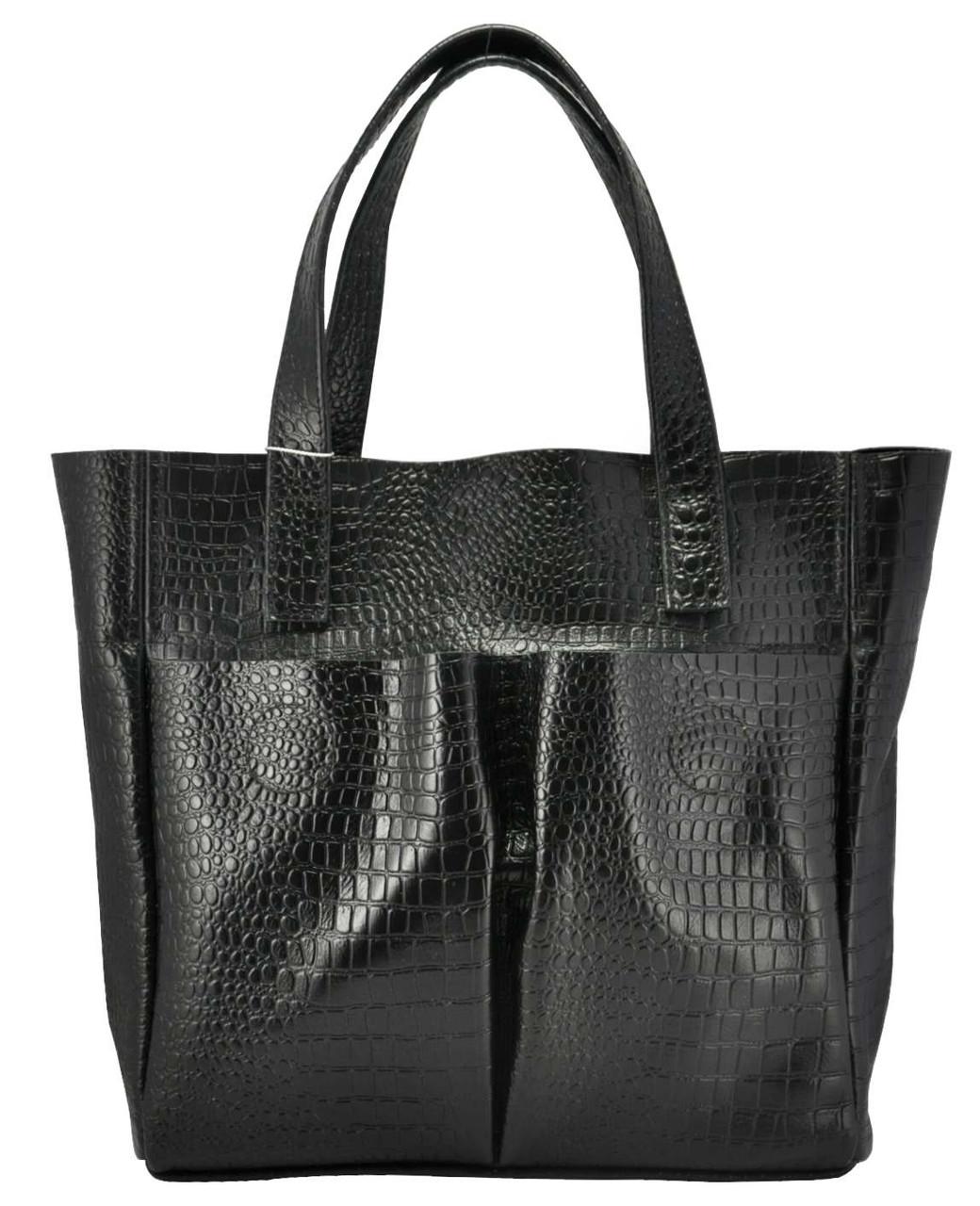 8f076b6e2e7d Женская кожаная сумка с карманами Crocodile черная - Интернет магазин
