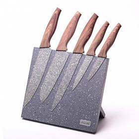 Набор ножей Kamille 6 предметов из нержавеющей стали на подставке с мраморным покрытием КМ-5046