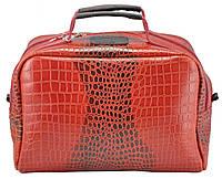 Женская кожаная сумка сундучок Crocodile красная